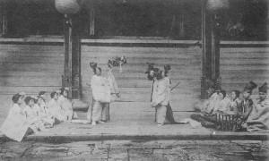 三神合祭殿大嘗祭御神楽之式_戦前発行の「羽黒山名勝絵葉書」